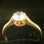 ANTIQUE 1ct DIAMOND & 18ct GOLD RING. {78}
