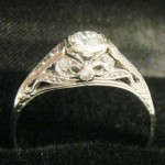 Art Deco Diamond & Platinum Ladies Ring  {10}