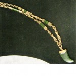 Exceptional 9ct Rose Gold Jade Fob chain & Jade Pendant