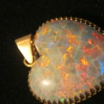 Large Opal Pendant Heart Shaped in GR8 cond;