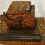 A GR8 Edwardian Scottie Inkwell In Lizard Skin  ~ A Genuinely Rare Piece