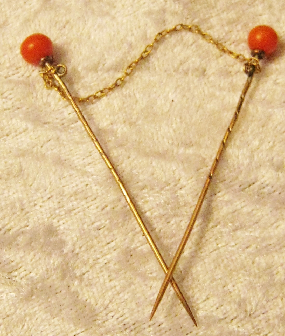 Antique Rose Gold Coral Stick Pins Hobart Town Antique Jewellery