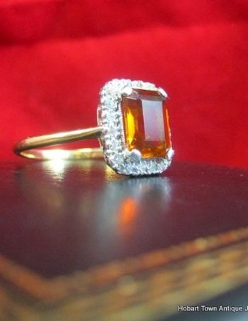 Art Deco Citrine & Diamond 18ct Gold Ring