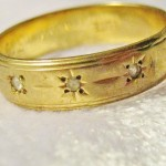 Vintage Diamond & Gold Engraved Wedding Band