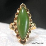Art Deco Jade 14ct Gold Marquise Shape Ring