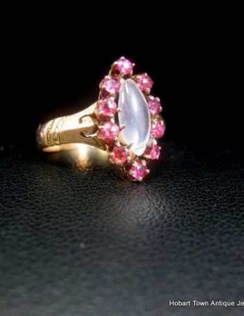 Victorian Ruby Moonstone Marquise Shape Antique Ring