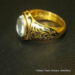 Superb Georgian 15ct Gold & Enamel Ring ~ Captain J.G.King c1857