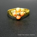 Victorian 15ct Gold Coral & Diamond Ring