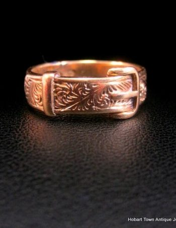 Antique 18ct Gold Buckle Ring English c1876