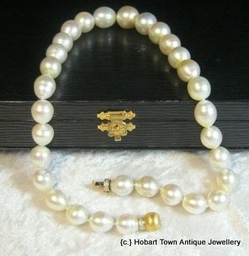 Fine Strand Of Large South Seal Pearls 18ct Clasp