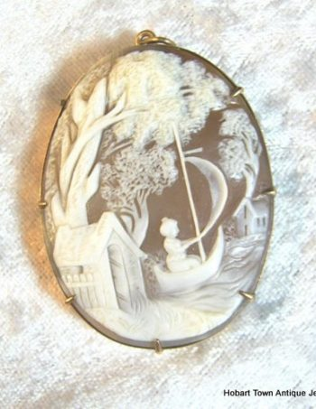 Large Antique 9ct Gold Cameo Pendant Idyllic 19thC Scene