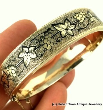 Outstanding 19thC Gold Taille d' Espargne Bangle , 1860's