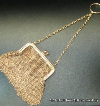 Rare Solid 9ct Gold Mesh Antique Coin Purse or Chatelaine Purse