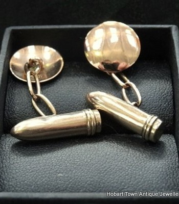 Australian Antique Cuff links Bullets in 9ct Gold Beyond Rare