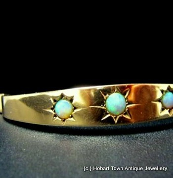Australian Made Rare Antique Opal 9ct Gold Bangle Cunningham McFarlane Melbourne