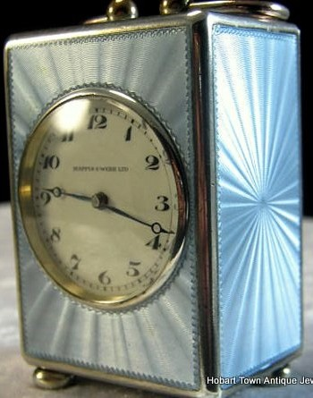An Amazing Mappin and Webb Guilloche Enamel St. Silver Sub Miniature Clock