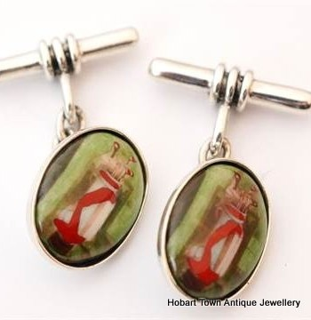 Edwardian St.Silver Golfing Cuff Links