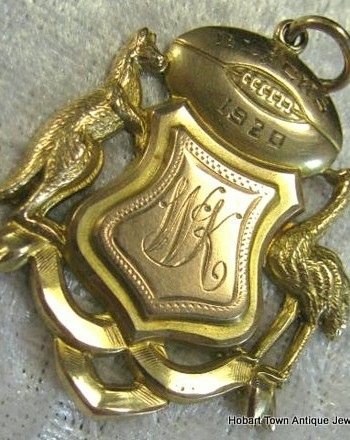 Antique Australian 9ct Gold Rugby League Football Coat of Arms Medal