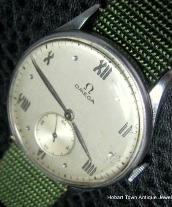 Rare Omega 1940's 30T2 Roman Numeral 35mm Gents Watch