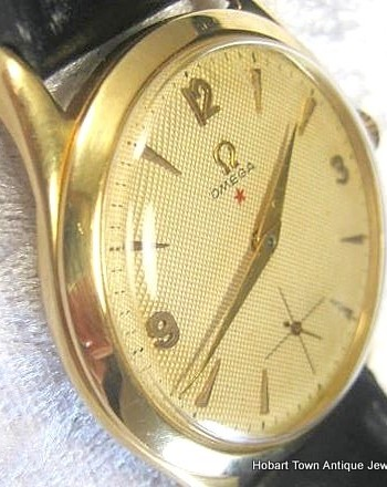 Rare Omega Tresor Red Star 18ct Gold Textured Dial c1951
