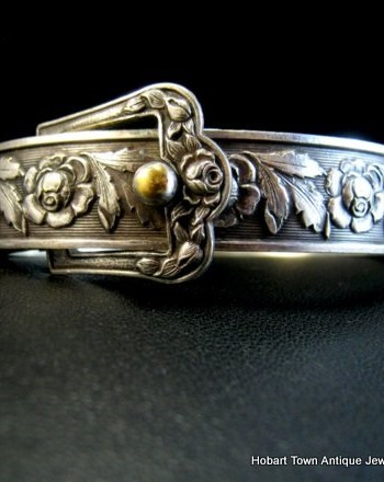 Edwardian St.Silver Buckle Bangle or Belt Bangle Beautiful Floral Decorated