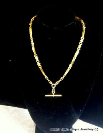 Superior Quality Antique Rose Gold Fob Chain Necklace c1900