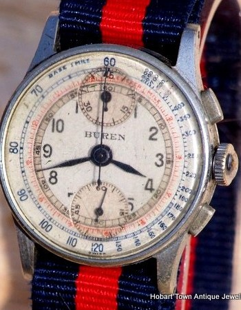 Fine BUREN c1940 Vintage Pilots Chronograph in Original Condition