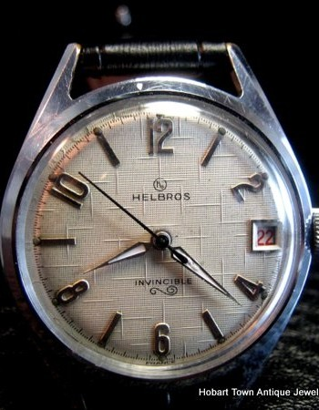 Fine HELBROS Invincible Textured or Linen Dial Gents 1950's Wristwatch