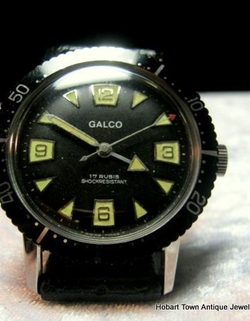 Rare Galco Gallet 1960's Divers 38m Watch All Original Condition