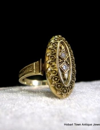 Antique 14ct Gold Diamond Etruscan Revival Finely Worked Ladies Ring