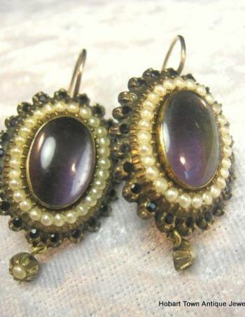 Antique Locket Earrings Gold Jet Real Seed Pearls c1880