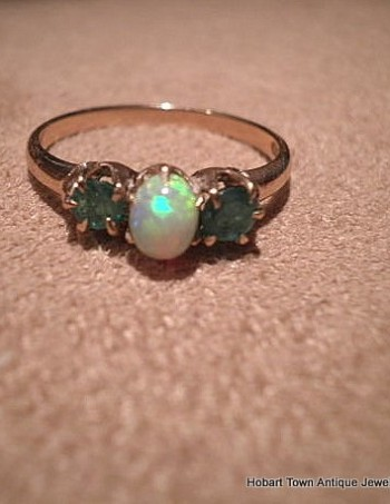 Authentic Antique Emerald Opal Gold Ladies Trilogy Ring