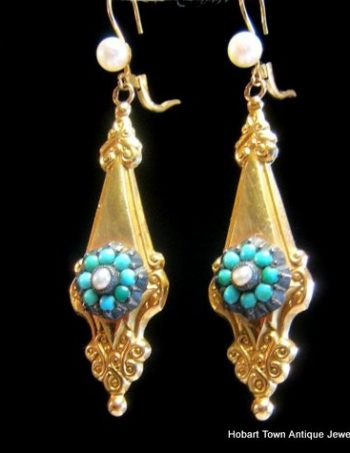 Fine Victorian 14ct Gold Turquoise Pearl Etruscan Revival Earrings