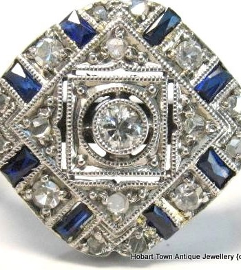 Art Deco Geometric Diamond Sapphire 18ct Gold Platinum c1930 Ring