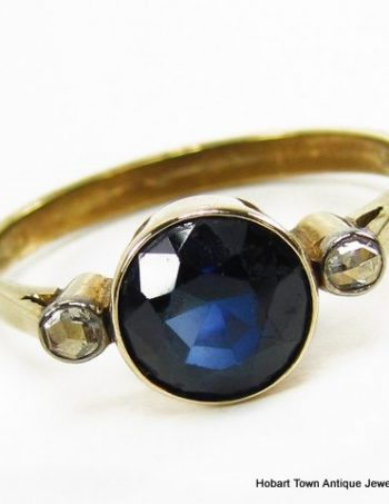 Outstanding Antique 1.5ct Sapphire Rose Cut Diamond 14ct Ring