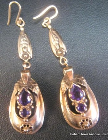 Outstanding Antique Amethyst 15ct Rose Gold Victorian Earrings