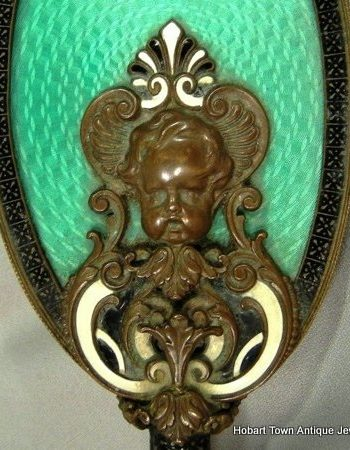 Superb Art Deco Guilloche Enamel Bronze Ivory Hand Mirror