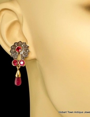 Superb Genuine Art Deco Ruby Diamond Gold Tear Drop Earrings