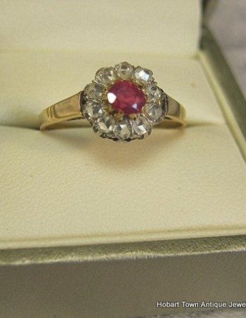 Victorian Ruby Diamond 14ct Gold Halo Ring c1890