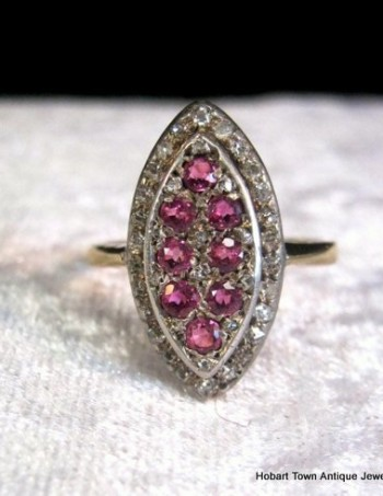 Victorian Ruby Diamond 18ct Gold Marquise Shape Ring c1890