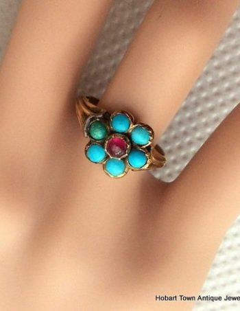 Victorian Turquoise Ruby 18ct Gold Daisy ~ Flower Ring