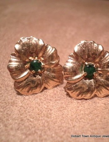 Vintage 14ct Gold Emerald Floral Earrings
