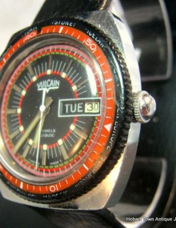 Rare Vulcain World Time Rotating Bezel Automatic Day Date