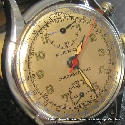 Vintage Pierce Chronograph Oversized 37.5m c1940 Quality Watch