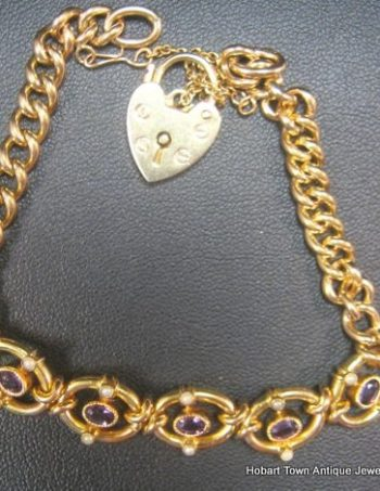 Antique Amethyst Moonstone Gold Bracelet c1890