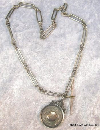 Victorian St.Silver Necklace Fob Chain with Silver Gold Fob