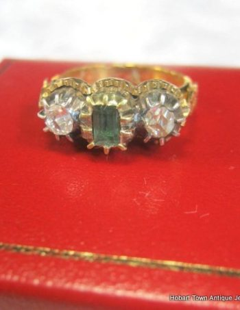 Authentic Georgian Handmade Emerald Diamond Trilogy Ring c1800
