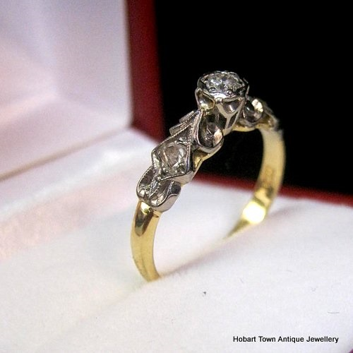 vintage platinum 18ct gold engagement ring