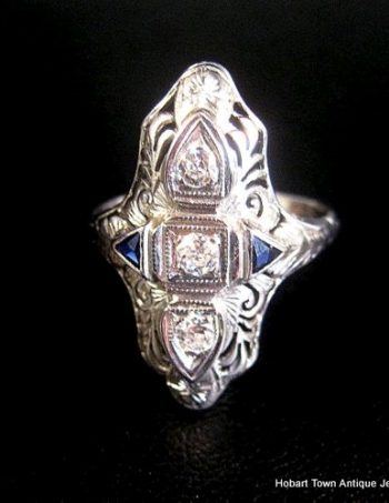 Amazing Art Deco .33ct Diamond Sapphire 18ct White Gold Ring