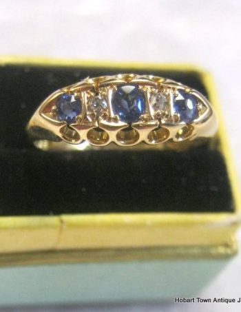 Antique Sapphire Diamond 18ct Gold U.K. Victorian Ring